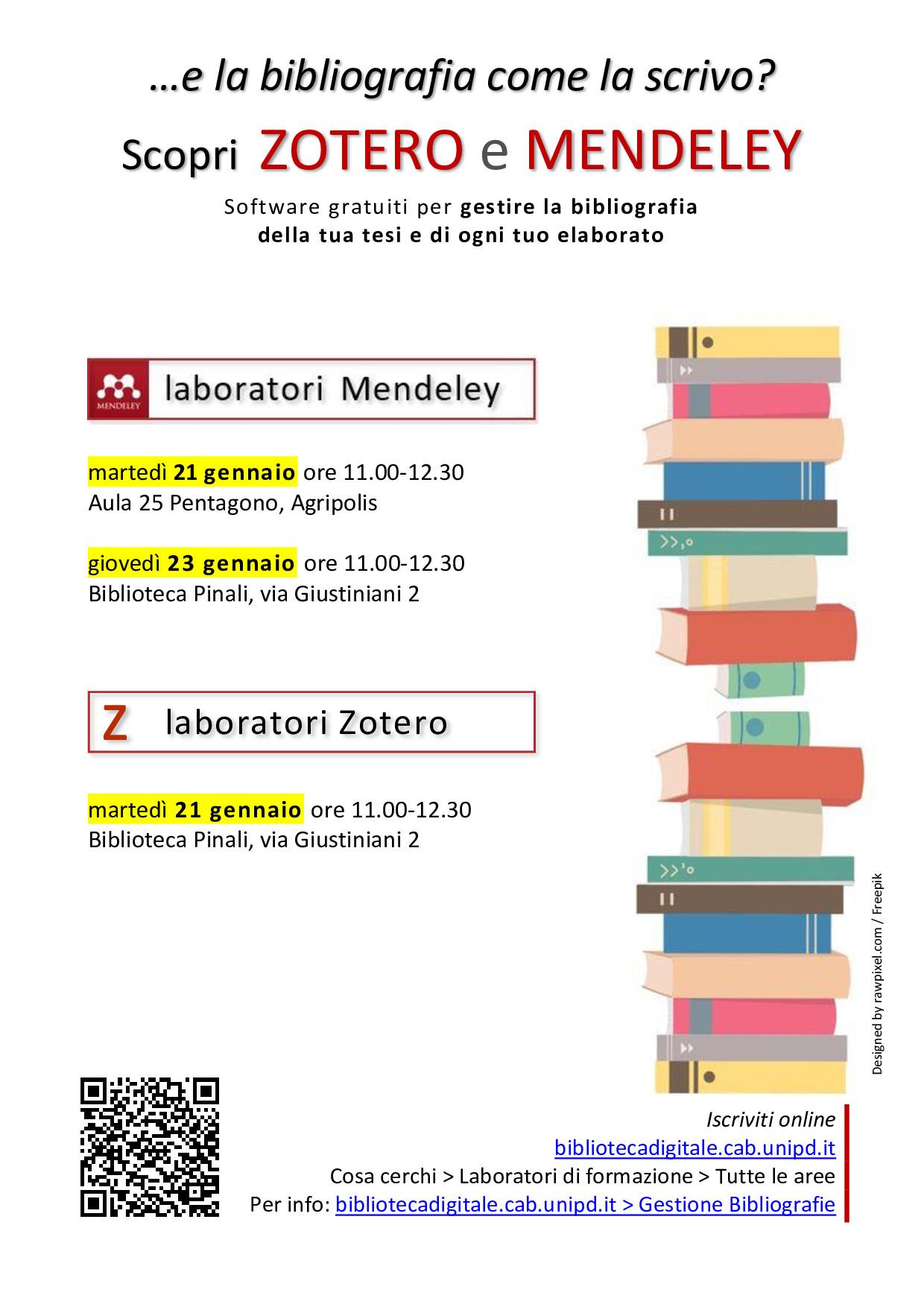 Nuovi corsi Zotero e Mendeley per creare le tue bibliografie